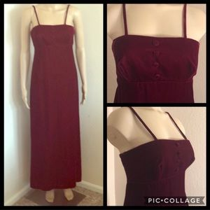 Vintage Deep Red Velvety Formal Gown Dress w/ Bag